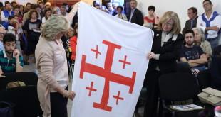 la bandiera di Gerusalemme presentata nella manifestazione di ieri