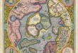 """Gerard Mercator, """"Septentrionalium Terrarum descriptio"""" (seconda edizione, del 1606, di quella che è probabilmente la prima mappa del Polo Nord). fonte: wikimedia.org"""