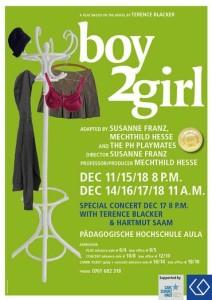 Manifesto -Plakat dello spettacolo Boy2Girl andato in scena presso il Ph di Freiburg. https://www.ph-freiburg.de/englisch/aktuelles-profil/theaterstuecke/boy2girl.html