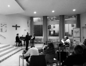 Un momento del concerto. Flauto Aram Razmgar, pianoforte Ekaterina Danilova.