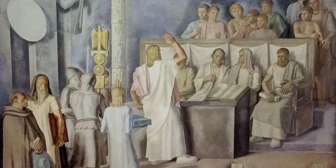 Particolare dell'affresco del soffitto dell'Aula Magna della sede della facoltà di Giurisprudenza a Palermo