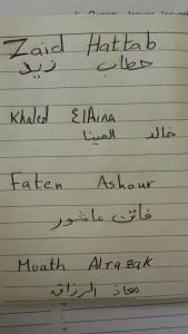 Le firme dei ragazzi, con i loro corrispettivi nomi scritti in arabo