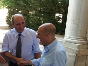 da sinistra: Jean-Paul Roumegas dirigente del CNOUS di Parigi, Alberto Firenze, vice-presidente nazionale dell'Andisu