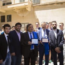 Leoluca Orlando e Fabrizio Micari ricevono una targa onoraria dagli amministratori del Sism Palermo. Foto di Giuseppe Mavaro
