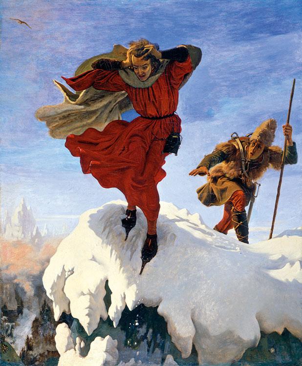 Ford Madox Brown (1821-1893), Manfred sulla Jungfrau. Manfred è raggiunto dal cacciatore di camosci alla fine dell'atto I. Olio su tela, 1840. Manchester, City Art Gallery.