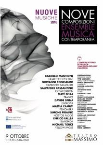 """Manifesto di le """"NUOVE MUSICHE"""" Concerto del 09/10/2016."""
