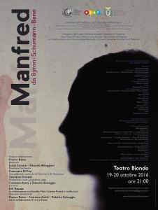 """Locandina di """"Manfred"""". Il 19 - 20 Ottobre andato in scena al Biondo di Palermo."""