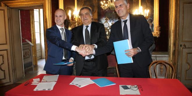 da sx Marco Pozzoni, Leoluca Orlando e Fabrizio Micari