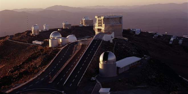 "Evening view of La Silla at the moment of ""telescope start-up""."