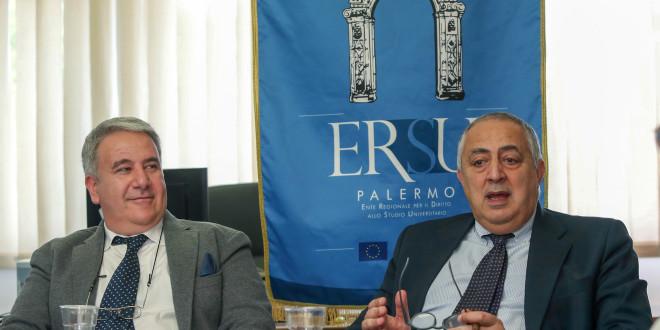 Da sinistra: Il presidente Ersu Palermo, Giuseppe Di MIceli, e l'assessore regionale delI'Istruzione e Formazione, Roberto Lagalla