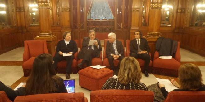 Giuseppe Corvaia Leoluca Orlando Francesco Giambrone e Massimiliano Bertolino alla conferenza stampa