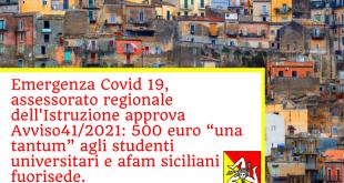 """Procedura online per la compilazione, l'invio e la regolarizzazione della richiesta concessione contributo straordinario """"una tantum"""" di cui all'Avviso pubblico n. 41/2021 della Regione Siciliana"""